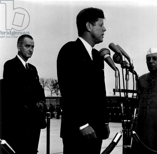 John F Kennedy welcomes Indian Prime Minister Jawaharlal Nehru, 1962