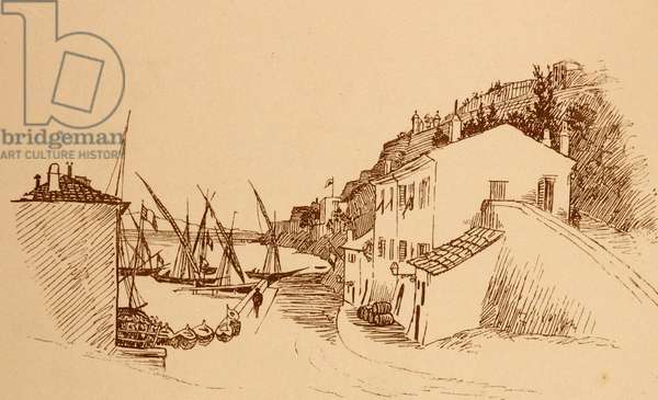 local French fishing village in the south of France c1884