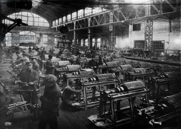 Pilot Soviet-Made Semi-Automatic Textile Machines are Being Assembled at the Karl Marx Factory, Leningrad, Soviet Union, 1924.
