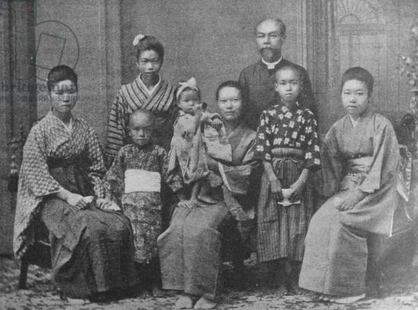 Japanese Christian pastor with his family 1880