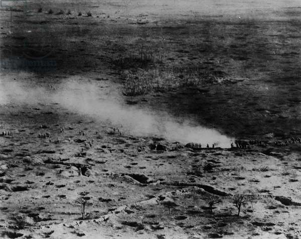 150 meters above fighting Somme front, 1916 (b/w photo)