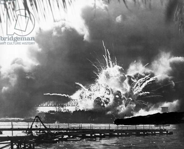 USS Shaw Explodes (b/w photo)