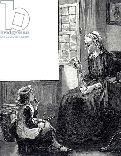 Engraving depicting a grandmother sitting with her grandchild