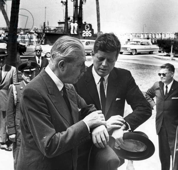 British Prime Minister Harold Macmillan with US President John F Kennedy