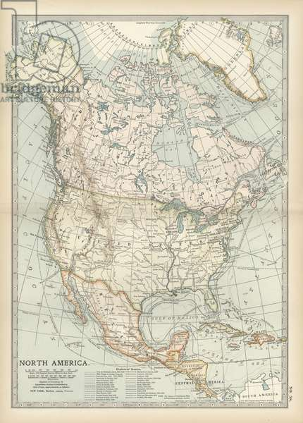 Map of North America and Central America