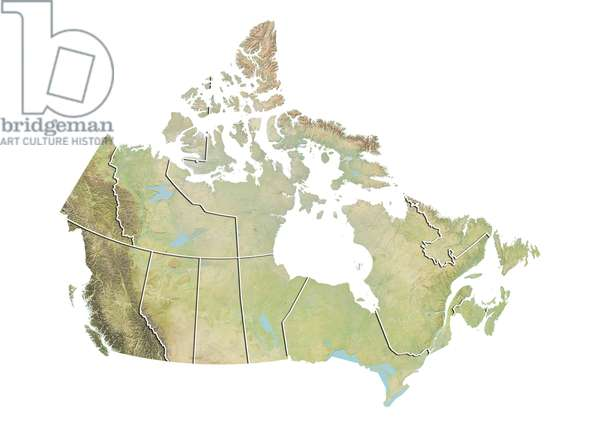 Canada, Relief Map With Province Boundaries