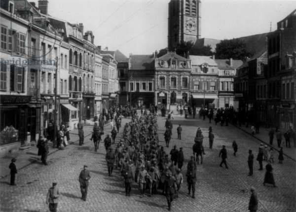German Parade Through Town, 1916 (b/w photo)