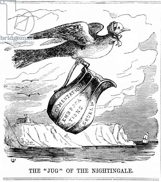 Florence Nightingale (1820 -1910) English nurse, flying to the aid of British troops in the Crimea. From Punch, London, 1854. Wood engraving.