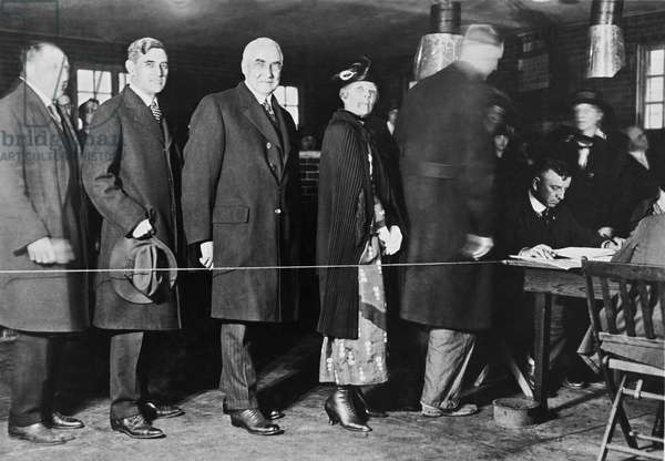 Mrs. Warren Harding Voting, United States, 1920 (b/w photo)