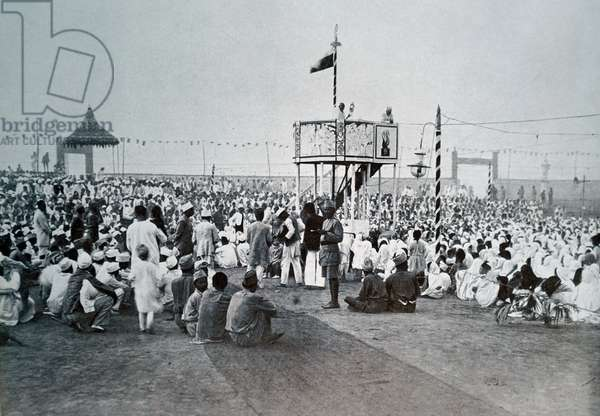 Mahatma Gandhi addresses a rally.