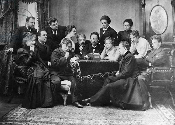 Anton Chekhov Reads his Play 'The Seagull' to Actors of the Moscow Art Theatre, 1899, Chekhov Center with Book in Hand, Director and Actor Konstantin Stanislavsky to his Left, Standing Beside Stanislavsky: Olga Knipper (Chekhov'S Future Wife), Front, Stroking Beard: Actor A, Artem, Far Left, Standing (With Beard) V, Nemirovich-Danchenko, Setaed, Far Right: V, Meyerhold.