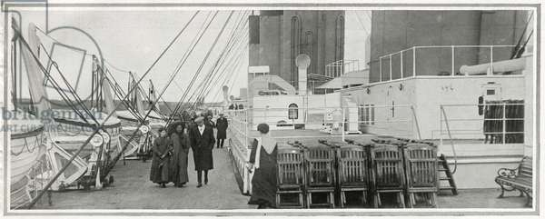 The promenade deck on Titanic, from 'The Sphere', 20 April 1912 (litho) (detail of 450874)
