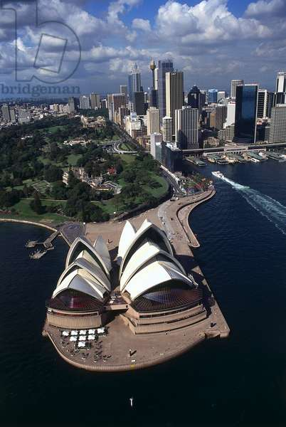 Australia, New South Wales, Sydney, aerial view of Sydney Opera House, with skyscrapers in background