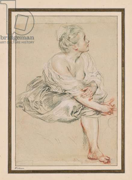 Woman sitting and turned towards the right (Red chalk and pencil)