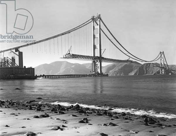 Golden Gate Bridge , San Francisco, California, 1937 (b/w photo)