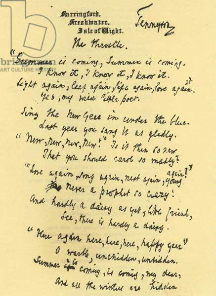 Manuscript of 'The Throstle' the poem by Alfred, Lord Tennyson (1809-1892). The Throstle is an alternative name for the Song Thrush and the rhythm of the poem borrows from the bird's song.