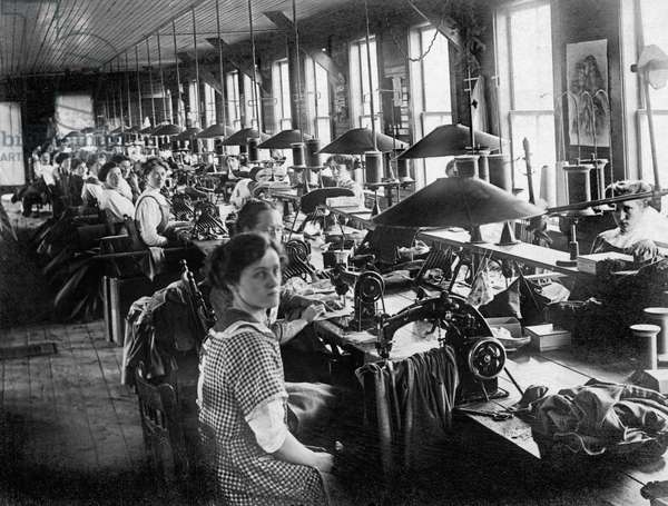 Garment Factory Workers (b/w photo)