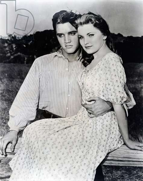 Elvis and Priscilla Presley while on the set of 'Love me Tender'.