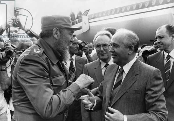 Fidel Castro, Head of the Communist Party of Cuba (Left) Meets Mikhail Gorbachev, General Secretary of the Cpsu, Havana Airport, Havana, Cuba, April 1989.