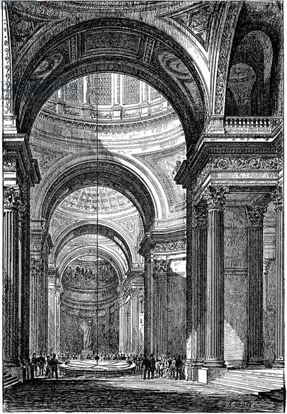 Foucault's pendulum in the Pantheon, Paris, in 1851, demonstrating both the rotation of the Earth and the concept of inertia. Leon Foucault (1819-1861) French physicist. Wood engraving, Paris, 1888.