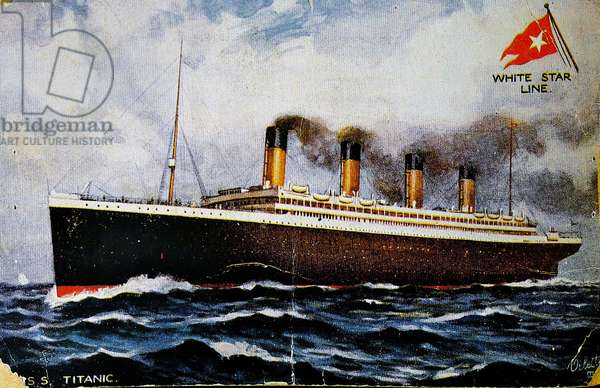 Pre-disaster postcard, front depicting the Titanic