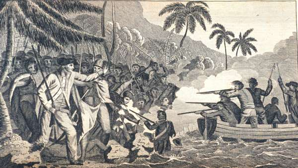 death of Captain James Cook at Kealakekua Bay, Hawaii. Captain James Cook,