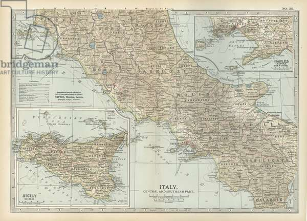 Map of Italy with Sicily and Naples