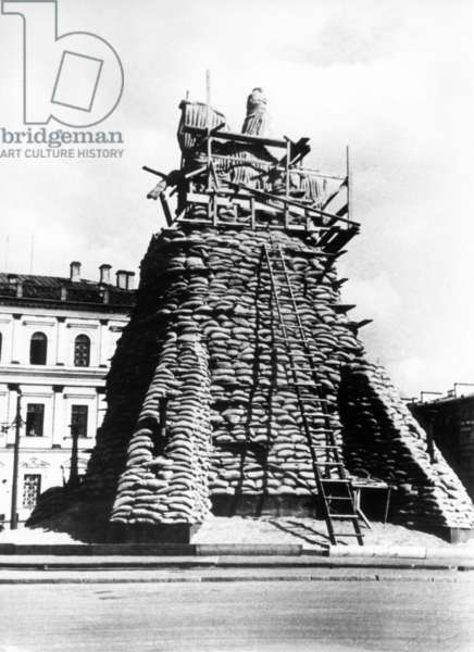 The Monument to Czar Nicholas I Protected by Sandbags, 1941.