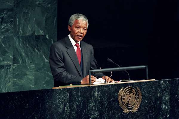 Nelson Rolihlahla Mandela addressing the UN General Assembly in 1990