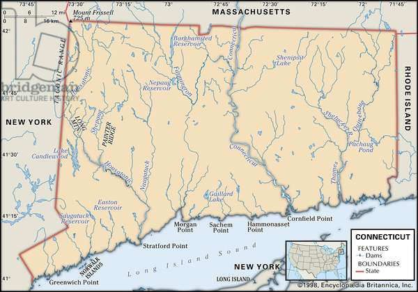 Physical map of Connecticut