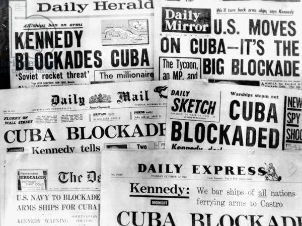 Cuba Blockade Headlines, 23 October 1962 (b/w photo)