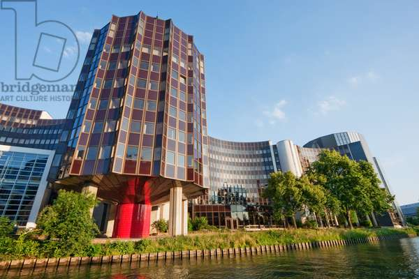 The Winston Churchill Building of the European Parliament on the Banks of the Ill River, Strasbourg, France (photo)