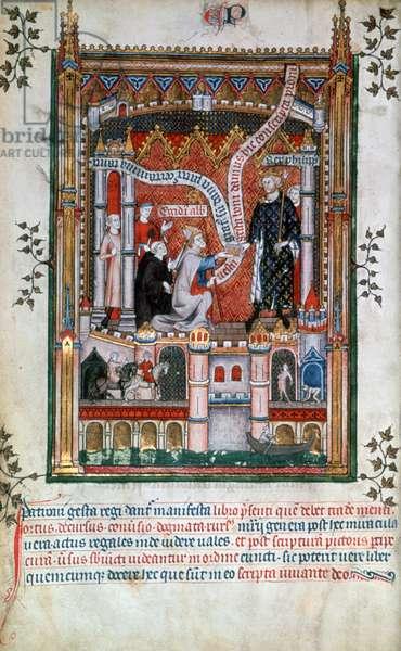 Vie de saint Denis, Gilles de Pontoise donates a manuscript to Philippe V