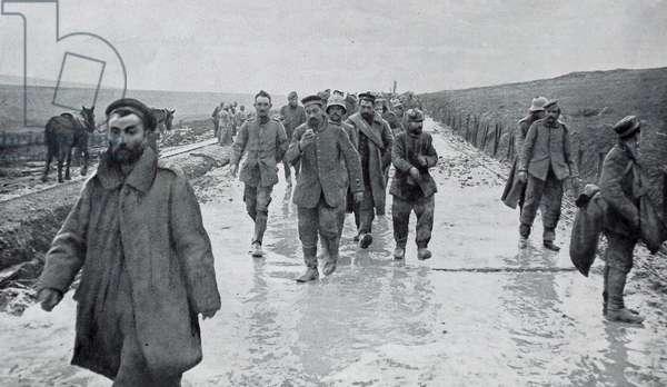 Group of german soldiers captured as prisoners of war