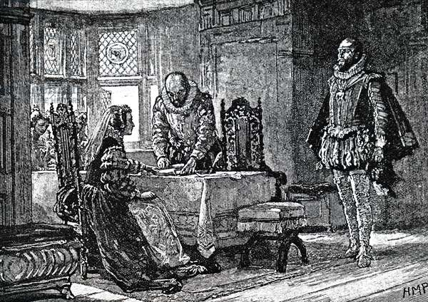 Mary, Queen of Scots signing her deed of abdication.