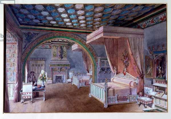19th century design for the recreation of a medieval bedroom, in the Château de Roquetaillade; a castle in Mazères (near Bordeaux), France. The extraordinary interior decorations, with its furnishings and paintings, were created by Viollet-le-Duc during the 19th century. Eugène Emmanuel Viollet-le-Duc (1814-1879) was a French architect and theorist, famous for his interpretive