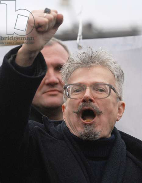 National Bolshevik Party (Nbp) Leader Eduard Limonov Raises his Fist as He Shouts During an Opposition Protest Rally Dubbed the 'March of Those Who Disagree' in Triumfalnaya Square, December 18, 2006, Moscow, Russia.