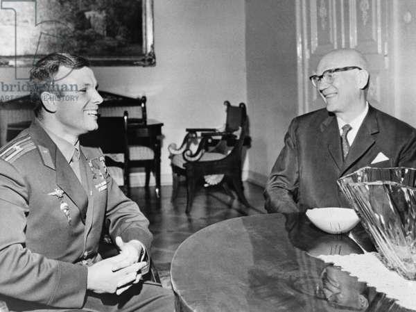 The World's First Cosmonaut Yuri Gagarin And Finnish President Kekkonen