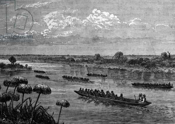 Sir Samuel Baker and his anti-slavery expedition on the Victoria Nile, 1850