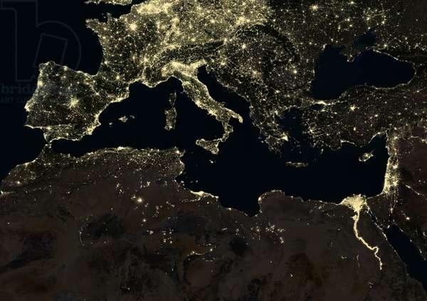 Mediterranean Region at night in 2012 (photo)