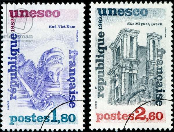 French postage stamp commemorating the designation of Hue in Vietnam and Sao Miguel in Brazil as UNESCO World Heritage Sites 1982