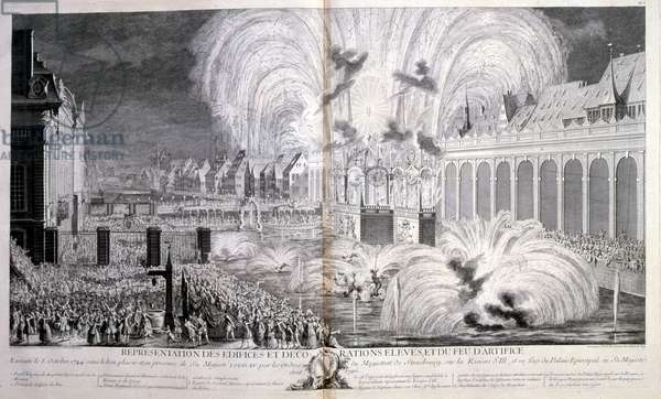 18th century illustration of celebrations for Louis XV, King of France, Reigned 1715-1774 arriving at Strasbourg, 1744. Louis XV (15 February 1710-10 May 1774), known as Louis the Beloved, was a monarch of the House of Bourbon who ruled as King of France from 1 September 1715 until his death in 1774
