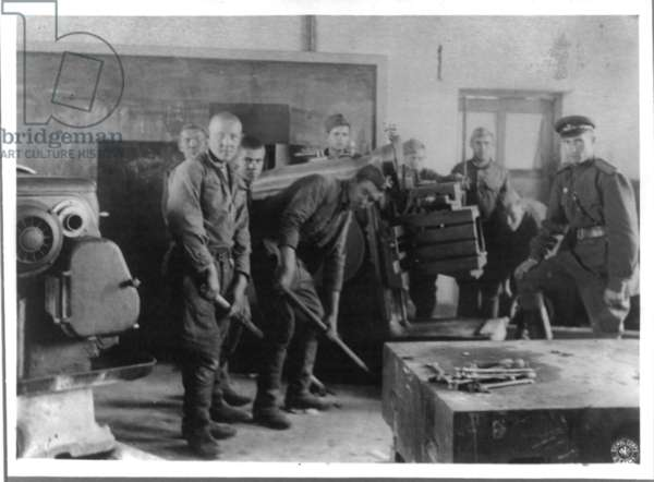 Soviet soldiers in process of removing industrial equipment from Manchurian factories at the end of World War II 1945.