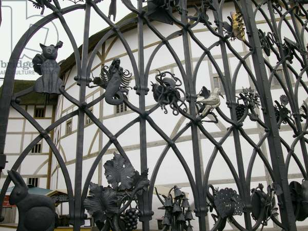 Great Britain, England, London, South Bank, Shakespeare's Globe Theatre, ornate wrought iron gate