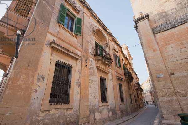 Stone Houses on A Narrow Street, Mdina, Malta (photo)