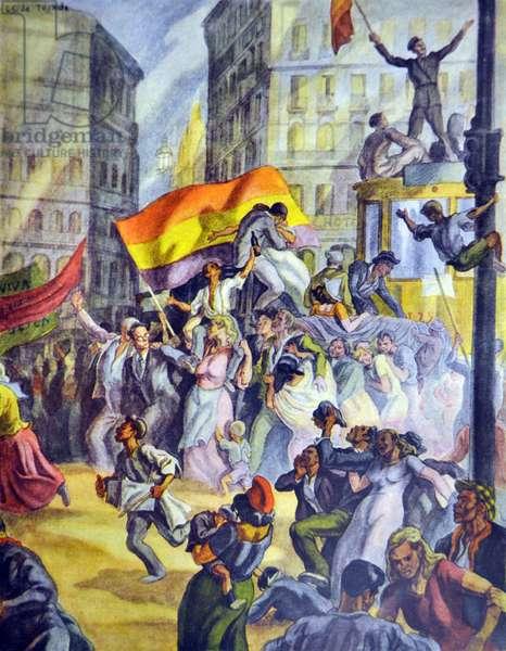 Spanish civil war: Jubilant Republicans at the Puerta del Sol, Madrid