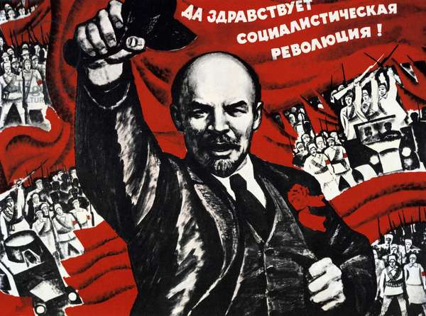 Russian Revolution, October 1917. Vladimir Ilyich Lenin (Ulyanov - 1870-1924)  Russian revolutionary. Undated Communist poster.