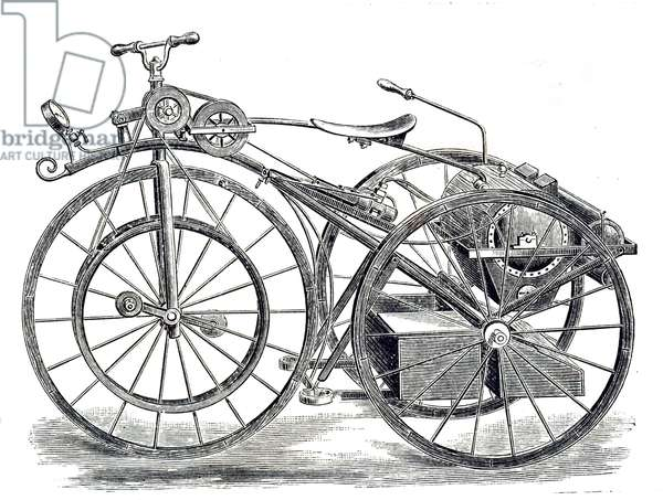 19th-century illustration showing Michaux-Perreaux's, steam velocipede; a steam-powered velocipede made in France sometime from 1867 to 1871, when a small Louis-Guillaume Perreaux commercial steam engine was attached to a Pierre Michaux manufactured iron framed pedal bicycle