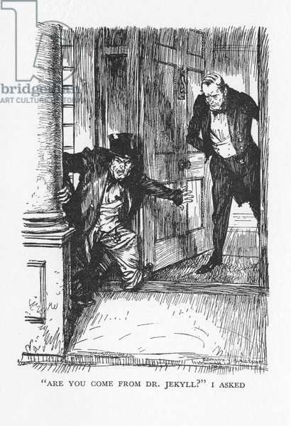 Robert Louis Stevenson The Strange Case of Dr Jekyll and Mr Hyde first published 1886. Dr Lanyon opens his door at midnight to a small man in clothes too big for him: Mr Hyde. Illustration by Edmund J Sullivan, from an edition published 1928