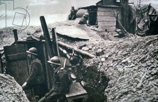 World War Two: French army in trenches guarding the approaches to the Rhine 1940